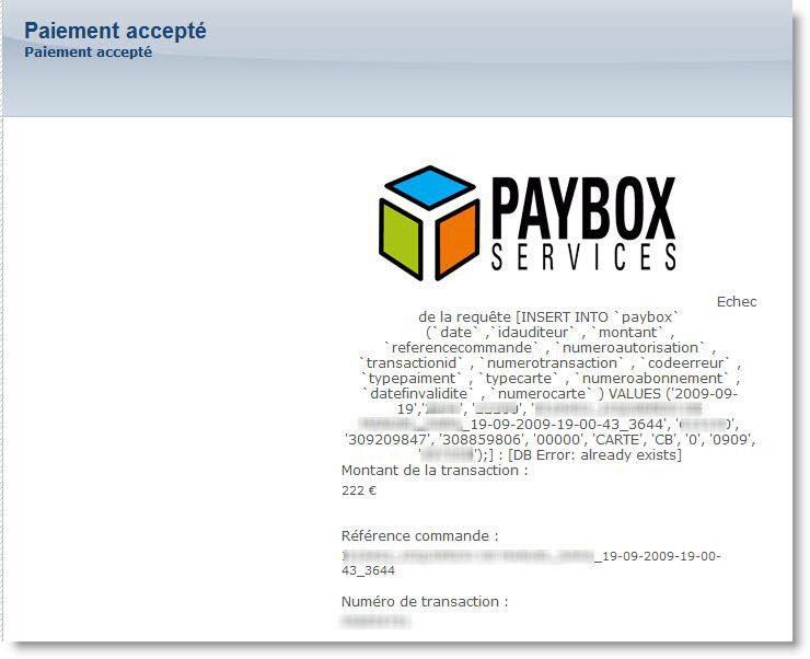 cnam - paybox - erreur SQL